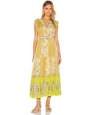 Желтое платье макси с вырезом из вискозы Free People