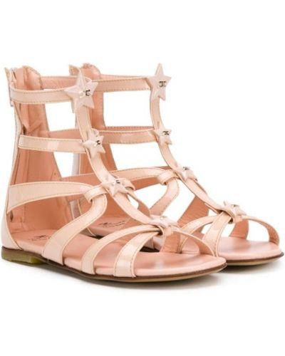 Кожаные розовые сандалии-гладиаторы с открытым носком на плоской подошве Elisabetta Franchi La Mia Bambina