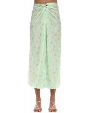 Сатиновая юбка миди - мятная Ganni