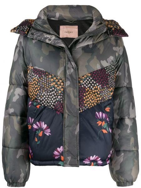Куртка с капюшоном длинная леопардовая Twin-set