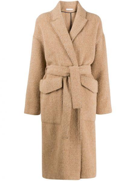 Коричневое шерстяное длинное пальто с воротником оверсайз Inès & Maréchal