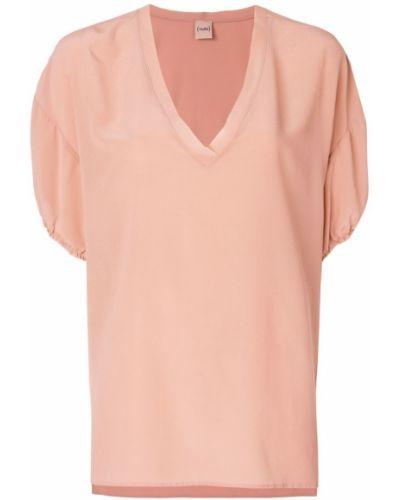 Блузка с V-образным вырезом спущенная шелковая Nude