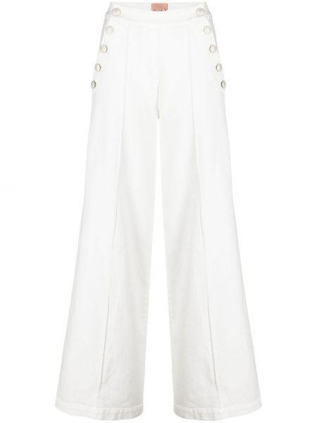Белые джинсы с высокой посадкой свободного кроя Nude