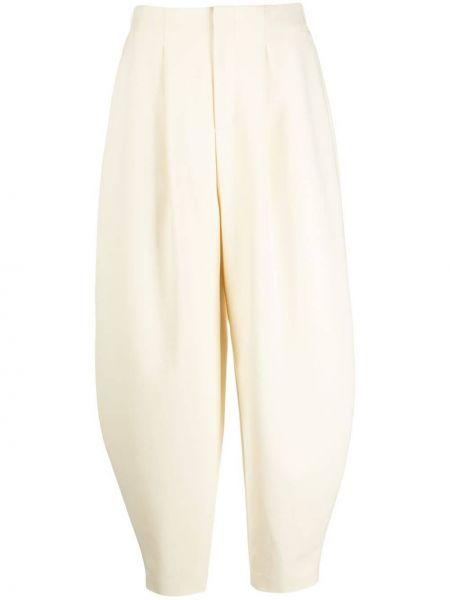 Spodnie z wysokim stanem z paskiem - białe Enfold