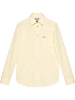 Biała koszula z haftem - biała Gucci