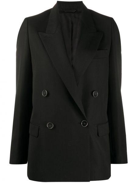 Черный удлиненный пиджак двубортный с карманами Acne Studios