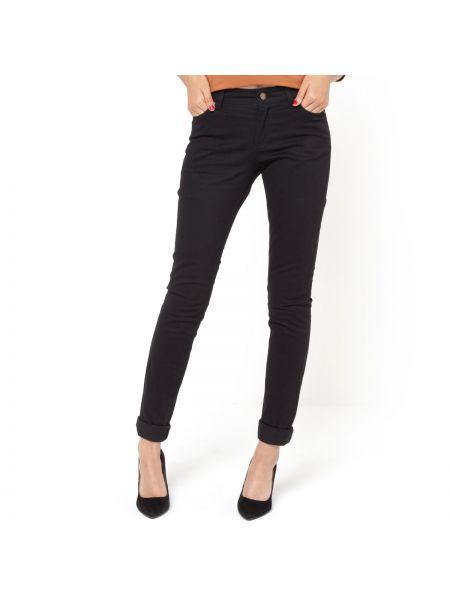 Черные брюки дудочки с воротником с поясом узкого кроя La Redoute Collections