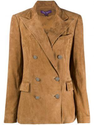 Коричневый удлиненный пиджак двубортный на пуговицах Ralph Lauren Collection