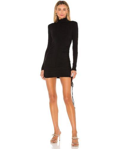 Черное платье мини с оборками Michael Costello