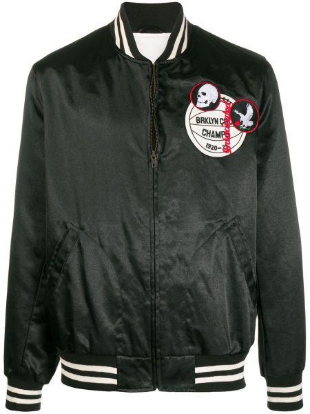 Czarna długa kurtka z haftem bawełniana Intoxicated