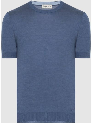 Шелковая футболка - синяя Castello D'oro