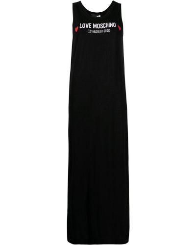 Шелковое черное платье макси без рукавов Love Moschino