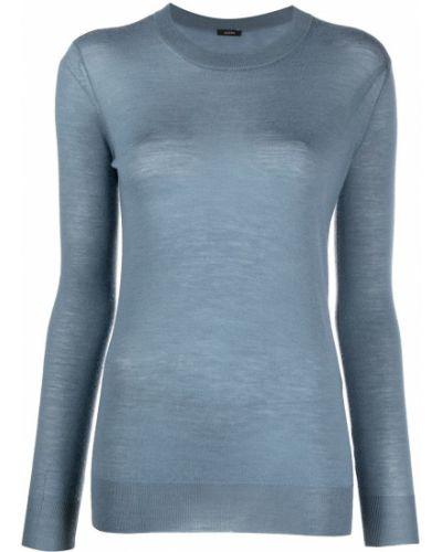Niebieski z rękawami sweter z okrągłym dekoltem z mankietami Joseph