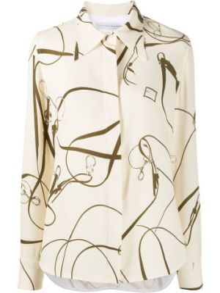 Biała klasyczna koszula z długimi rękawami z paskiem Victoria Beckham