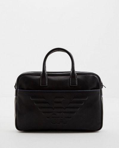 Черная кожаная сумка Emporio Armani