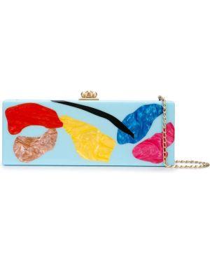Золотистая синяя сумка на цепочке Edie Parker