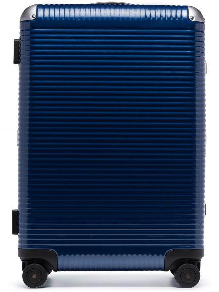Синий кожаный чемодан Fpm Milano