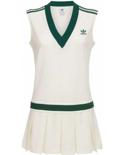 Теннисное белое платье на резинке Adidas Originals