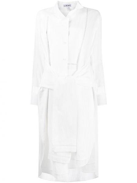Biały bawełna asymetryczny sukienka midi z długimi rękawami Loewe