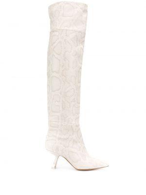 Biały buty na pięcie z ostrym nosem z prawdziwej skóry w połowie kolana Nicholas Kirkwood