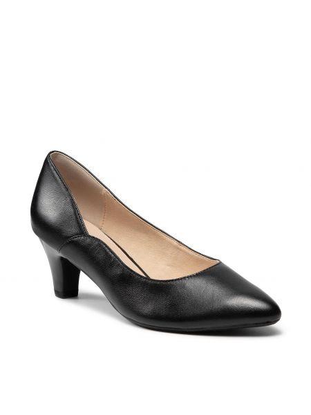 Czarne półbuty eleganckie Caprice