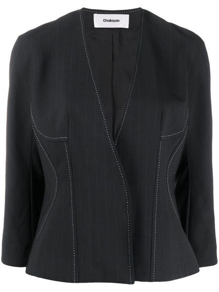 Прямая шерстяная синяя куртка Chalayan