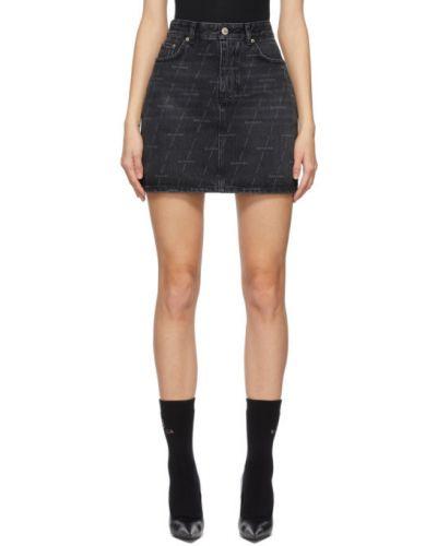 Czarna spódnica jeansowa z paskiem srebrna Balenciaga
