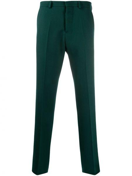 Zielone spodnie wełniane z paskiem Ami