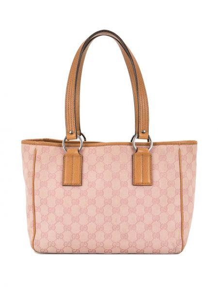Коричневая парусиновая сумка-тоут на молнии с карманами Gucci Pre-owned