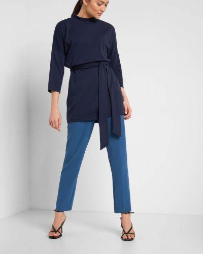 Z paskiem niebieski z rękawami tunika Orsay