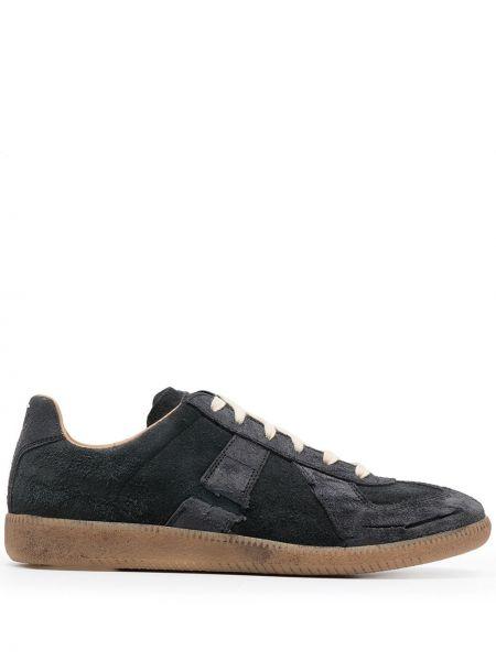 Кожаные черные кроссовки на шнуровке Maison Margiela