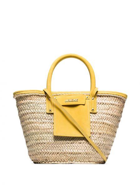 Кожаная сумка пляжная бежевый Jacquemus