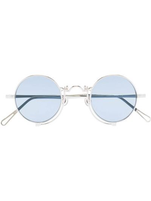 Серебряные солнцезащитные очки круглые металлические Matsuda