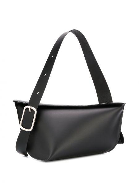 Кожаная асимметричная черная кожаная сумка Venczel