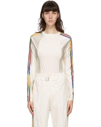 Белое боди с длинными рукавами с воротником Adidas Originals