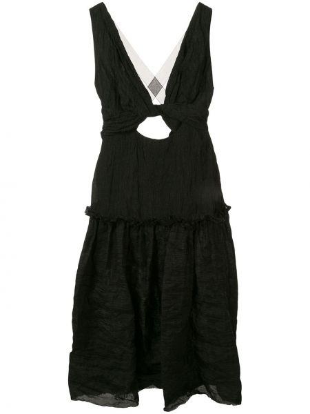 Черное приталенное платье миди на бретелях на молнии Kitx