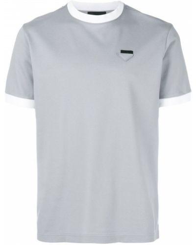 Рубашка с короткими рукавами хлопковая с логотипом Prada