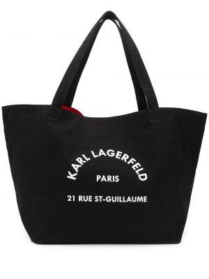 Ватная хлопковая черная сумка-тоут с карманами Karl Lagerfeld
