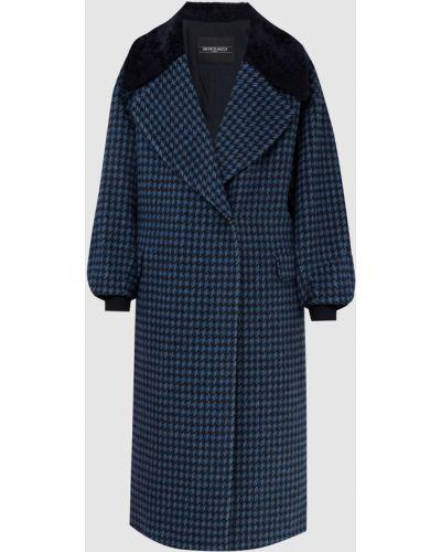 Синее пальто с мехом Simonetta Ravizza