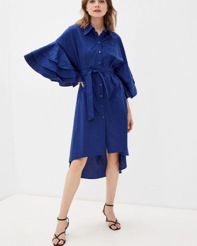 Платье рубашка - синее Adzhedo