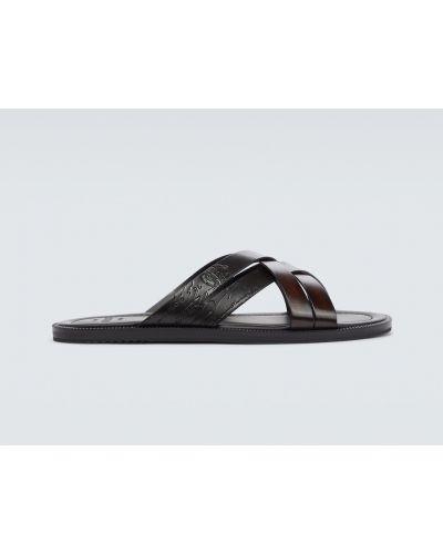 Czarne sandały skorzane Berluti