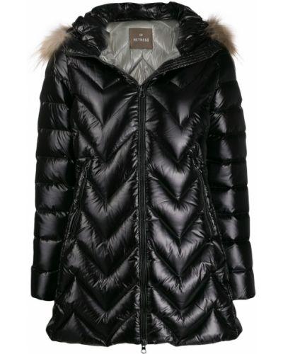 Черное пуховое длинное пальто с капюшоном Hetrego