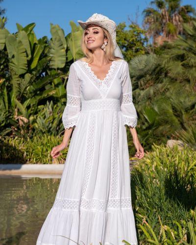 Пляжное кружевное белое платье макси Fresh Cotton