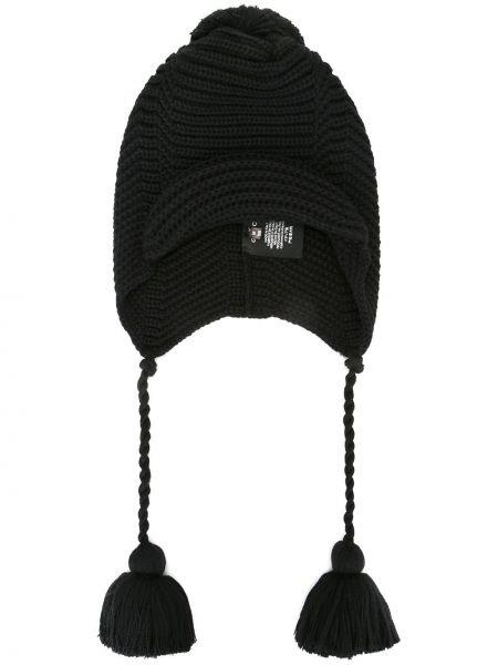 Ciepły czarny kapelusz wełniany Gucci