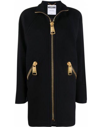 Шерстяное черное длинное пальто с воротником Moschino