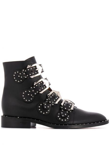 Czarny skórzany buty z klamrą Givenchy