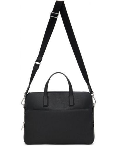 Черный кожаный портфель с карманами Boss