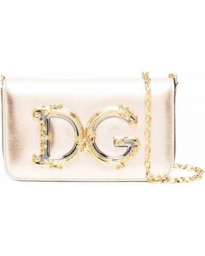 Złota kopertówka - różowa Dolce And Gabbana