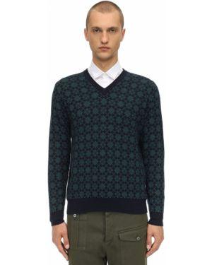 Prążkowany z kaszmiru sweter z dekoltem w serek Piacenza Cashmere