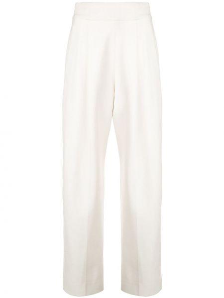 Шерстяные брюки со складками в рубчик с воротником Oscar De La Renta